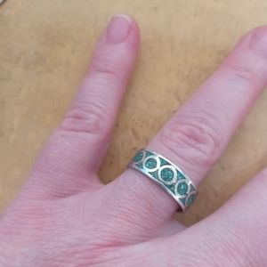 Vintage 925 Taxco Beto Turquoise Chip Inlay Ring
